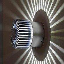 LED Wand- und Deckenleuchte für den Innen- und Außenbereich | Außenwandleuchte mit Effekt | Lampe aus Alu gebürstet | Wandleuchte rund | Wandlampe 3Watt modern