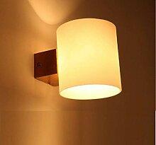 LED-Wandlampe Aus Holz Wand Leselampe Milchglas