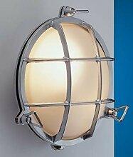 LED Wandlampe Chrom Echt-Messing IP54 Maritim rund