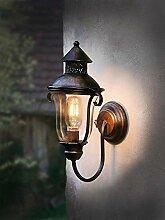 LED Wandlaterne aus Metall, braun, im