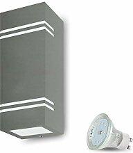 LED Wandleuchte Aussen VENEZIA 7 (Eckig, Grau)