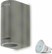 LED Wandleuchte Aussen VENEZIA 9 Grau inkl. 2x LED