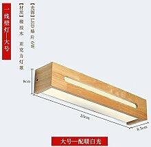 LED-Wandleuchte Einfache kreative Massivholz Wandleuchte Treppen Korridor Wandleuchte Toilettenspiegel vorderen Leuchte Schlafzimmer Bett Wandleuchte, B-55 cm