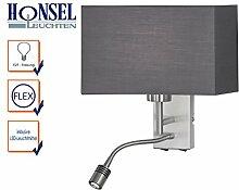 LED Wandleuchte KEMPTEN mit flexiblem Leselicht, getrennt schaltbar, Nickel matt, Schirm grau