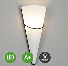 LED Wandleuchte Melek (Landhaus, Vintage, Rustikal) in Weiß aus Glas u.a. für Schlafzimmer (1 flammig, E14, A+, inkl. Leuchtmittel) von Lampenwelt | LED-Wandlampe, Wandlampe, Schlafzimmerleuchte