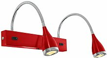 LED Wandleuchte Mini Led | dopp. Wand | Rot / Chrom, LK Nordlux, 2x 3x1W, warmweiß, Metall, Wandbeleuchtung, Leselampe, Leseleuchte, Wandlampe mit Flexarm, EEK A