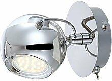 LED Wandleuchte mit Schalter Chrom 1 flammig Wand
