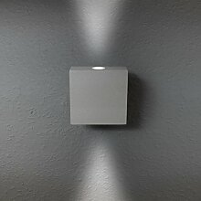 LED Wandleuchte Wandlampe Außenleuchte Grau Up Down 2-Flammig Aluminium Form:W14 IP44 230V (2-Flammig Neutralweiß)