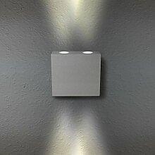 LED Wandleuchte Wandlampe Außenleuchte Grau Up Down 4-Flammig Aluminium Form:W17 IP44 230V (4-Flammig Warmweiß)