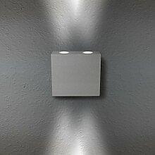 LED Wandleuchte Wandlampe Außenleuchte Grau Up Down 4-Flammig Aluminium Form:W16 IP44 230V (4-Flammig Neutralweiß)