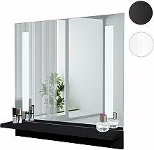 LED-Wandspiegel mit Ablage HWC-C11, Badspiegel Badezimmer, hochglanz 58x60cm ~ schwarz