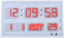 LED-Wanduhr Kalender Uhr Wanduhr , red