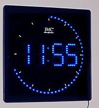 LED - Wanduhr mit blauen Zahlen + runde