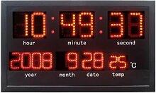 LED-Wanduhr mit Datum & Temp.-Anzeige