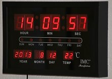 LED - Wanduhr mit Datum & Temperaturanzeige rot -