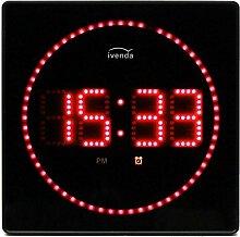 LED-Wanduhr mit roter Anzeige / Temperatur Anzeige