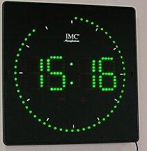 LED - Wanduhr mit Zahlen grün quadratisch digital