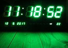 LED - Wanduhr mit Zahlen grün rechteckig digital