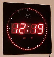 LED - Wanduhr mit Zahlen rot quadratisch digital
