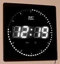 LED - Wanduhr mit Zahlen weiß quadratisch digital