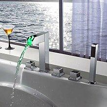 LED-Wasserfall-Badewannenarmatur,