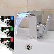LED-Wasserhahn, für Badezimmer, beleuchtet,
