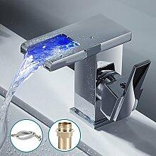 LED-Wasserhahn / Mischbatterie, RGB, mit Wasserfall-Design, ein Hebel, modernes Design, Chrom, mit UK-Standard-Armaturen