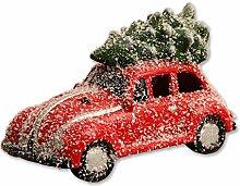 LED Weihnachts-Dekoration: Figur 'Auto mit Weihnachtsbaum' beleuchtet, verschneit, rot, Keramik, 23,5x12x15 cm, Xmas Winter Tannenbaum