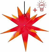 LED WEIHNACHTSSTERN 3D ROT GELB XL 18 Zacken 65 cm