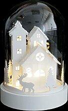 LED Weihnachtsszene Haus in Glasglocke 18xØ12,5cm - Weihnachtsdekoration Tischdekoration weihnachtliche Dekoration Lichterdeko
