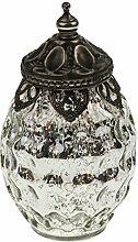 LED Windlicht antik Silber bauernsilber mit
