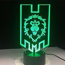 Led World Of Warcraft 3D Lampe Die Alliance Tribal