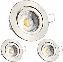 LEDANDO 3er LED Einbaustrahler Set Silber