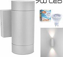 LEDANDO Hochwertige LED Wandleuchte UpDown Alu in grau inkl. 2x LED GU10 Markenstrahler 7W - warmweiß 3000K - für Innen und Außen - IP54