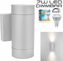 LEDANDO Hochwertige LED Wandleuchte UpDown Alu in grau inkl. 2x LED GU10 Markenstrahler 7W - DIMMBAR - COB - grau - warmweiß - für Innen und Außen - IP54