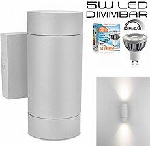 LEDANDO Hochwertige LED Wandleuchte UpDown Alu in grau inkl. 2x LED GU10 Markenstrahler 5W - warmweiß 3000K - für Innen und Außen - IP54