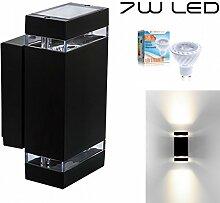 LEDANDO Hochwertige LED Wandleuchte UpDown Alu inkl. 2X LED GU10 Markenstrahler 7W - Schwarz - warmweiß - für Innen und Außen - IP44