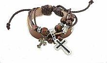 °*Leder-Armband Kreuz mit Zierperlen Holz/Metall