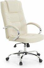 Leder Chefsessel Massagesessel San Diego Sessel mit Massage + Heizung Farbe beige/cremefarben/elfenbein + Chrom für Büro Ledersessel Bürostuhl Drehstuhl günstig