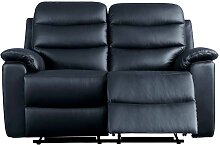 Leder Couch in Schwarz Relaxfunktion