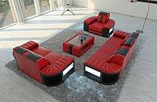 Leder Garnitur 321 Bellagio rot-schwarz