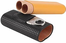 Leder Holz 2 Tube Travel Cigar Case Humidor mit