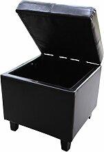 Leder Lagerung Hocker Schemel Polsterhocker Aufbewahrungsbox Sitzbox (Schwarz)