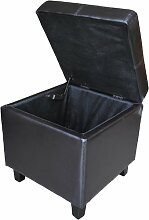 Leder Lagerung Hocker Schemel Polsterhocker Aufbewahrungsbox Sitzbox (Dunkelbraun)