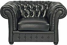 Leder Sessel Classic Chesterfield schwarz