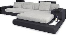 Leder+Stoff Couch L-Form HAMBURG III -