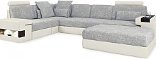 Leder + Stoff Sofa HAMBURG II - Wohnlandschaften