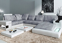 Leder+Stoff XXL Sofa Wohnlandschaft HAMBURG -