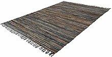 Leder Teppich Mit Fransen Modern Streifen Teppiche