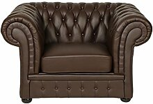 Ledersessel Classic Chesterfield braun Sessel
